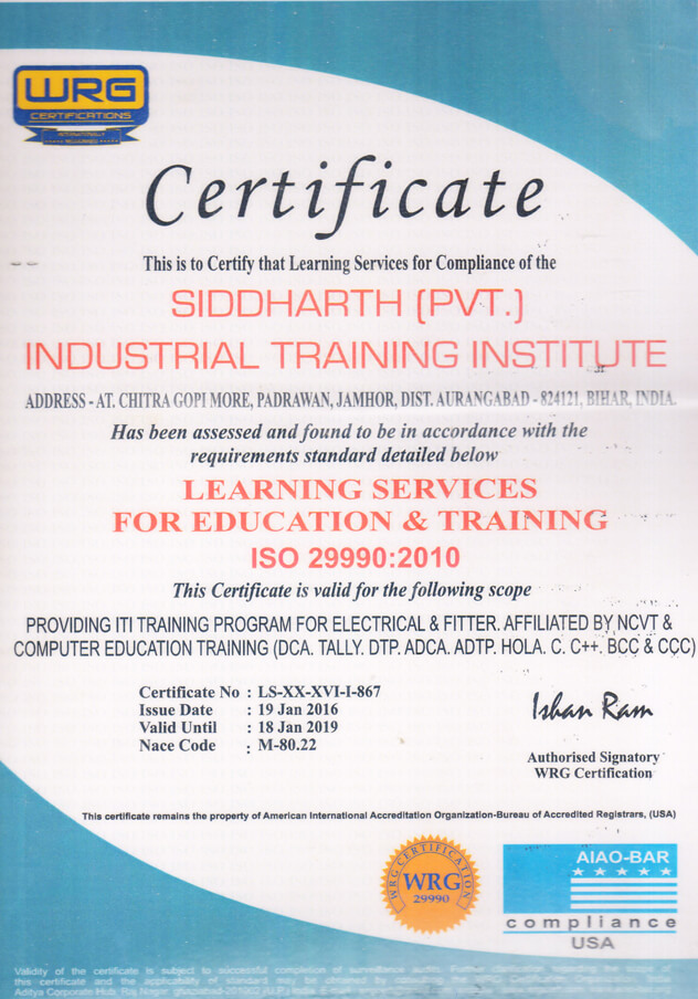Other Certifications | Siddharth Private Industrial Training ...